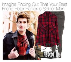 """Imagine Finding Out That Your Best Friend Peter Parker is Spider-Man"" by xdr-bieberx ❤ liked on Polyvore featuring J Brand, Ray-Ban and Converse"