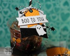 Spooky treats by Amy Kolling. Reverse Confetti stamp sets: Spooky Cuties and Spooky Sentiments. Confetti Cuts: Tag Me and Star Garland. Halloween party favor. Halloween tag.