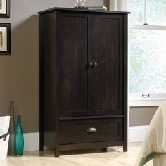 Offering up both extra clothing storage and classic design, the Sauder County Line Armoire is a must-have for most any bedroom. Household Cleaning Schedule, Weekly Cleaning, Armoire Makeover, Commercial Office Furniture, Guest Room Office, Furniture Manufacturers, Furniture Collection, Design Awards, Adjustable Shelving