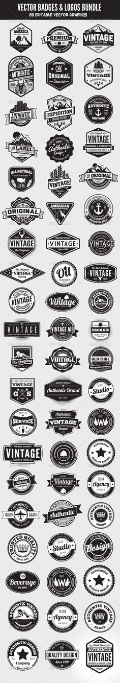 Vintage Graphic Design Having a good selection of vectors on hand is essential for any designer. This ultimate collection of 60 vector badges and logos is an incredible assortment of vintage styled elements. Each graphic. Graphisches Design, Badge Design, Design Elements, Shape Design, Retro Design, Food Design, Inspiration Logo Design, Logo Branding, Branding Design