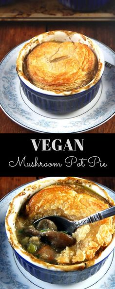 A savory, bubbling vegan mushroom pot pie with a whole-wheat puff pastry crust and a filling of peas, carrots, and two kinds of mushroom, all tied together by savory herbs. Yummy Recipes, Whole Food Recipes, Cooking Recipes, Yummy Food, Pie Recipes, Recipes Dinner, Healthy Food, Cooking Games, Cooking Tips