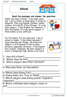 A Letter from Uncle Sam English Comprehension Worksheet – English Treasure Trove English Grammar For Kids, English Phonics, English Lessons For Kids, English Worksheets For Kids, English Teaching Materials, English Writing Skills, English Reading, Living English, First Grade Reading Comprehension