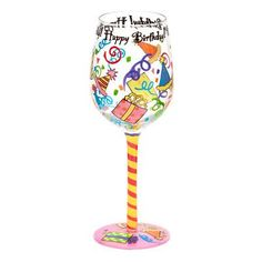 Enjoy an extra happy birthday while drinking from the Top Shelf Happy Birthday Wine Glass . Presents, streamers, and party hats adorn this colorful. Birthday Wine Glasses, Diy Wine Glasses, Decorated Wine Glasses, Hand Painted Wine Glasses, Pebeo Porcelaine 150, Wine Glass Designs, Wine Glass Crafts, Bottle Crafts, Glass Art