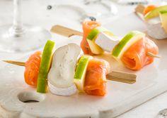 Brochettes met Fagotin dubbelroom, gerookte zalm en groene appel