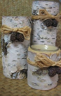 Faux Bois Votive Birchbark Style Candle Holder Trio.  Perfect little fake tree candle holders.                                                                                                                                                                                 More
