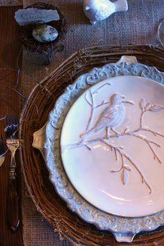 pretty bird on branch plate