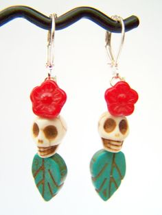 Day of the Dead Earrings, Dia de Los Muertos Earrings by polishedtwo on Etsy, $12.50