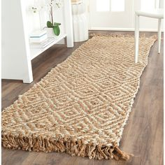 Safavieh Hand-woven Sisal Style Natural/ Ivory Jute Rug (2'6 x 8') | Overstock.com Shopping - The Best Deals on Runner Rugs