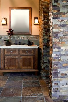 love this rustic wood & slate... & vanity, & sconces, &...