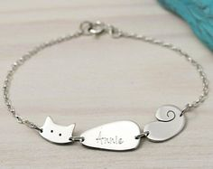 This sweet kitty cat bracelet can be personalised with a name of your choice. Handmade from sterling silver this adorable cat is the perfect gift to personalis Cat Jewelry, Animal Jewelry, Metal Jewelry, Jewelry Accessories, Silver Necklaces, Sterling Silver Bracelets, Silver Rings, Argent Sterling, Creations