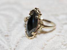 Vintage 10K Gold  BLACK ALASKAN DIAMOND RING  Size 8-1/2 Marquise Cut Hematite