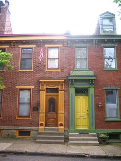 Beautifully restored 19th century row houses in Pittsburgh's Mexican War Streets historic district