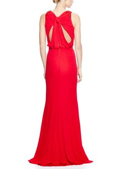 BADGLEY MISCHKA Sleeveless Knot Back Gown | ideel