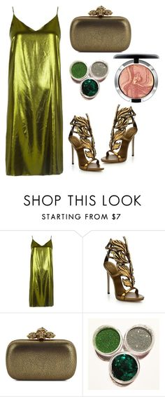 """metallic Prom"" by muslifa ❤ liked on Polyvore featuring River Island, Giuseppe Zanotti, Alexander McQueen, MAC Cosmetics, olive and metallicdress"