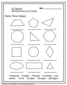 2D Geometrical Shapes Worksheets
