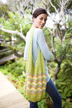 Free Crochet Pattern: Al Fresco Market Tote. Use this chevron striped bag as a market bag or as a tote.