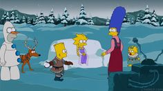 """The Simpsons couch gag for the Christmas episode """"I Won't Be Home for Christmas"""" features the """"obligatory Frozen reference."""" It stars the Simpson family as Frozen characters. Elsa (Lisa) creates an ice castle to stop her brother Kristoff (Bart) from throwing snowballs at her. Homer is literally disgusted with himself. He's transformed into a Olaf the snowman. #tv #funny  http://l7world.com/2014/12/simpsons-couch-gag-parodies-frozen-christmas-episode.html"""