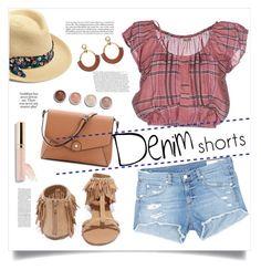 """Denim Shorts"" by judysingley-polyvore ❤ liked on Polyvore featuring Miu Miu, Qupid, Hat Attack, rag & bone/JEAN, Terre Mère, jeanshorts, denimshorts and cutoffs"