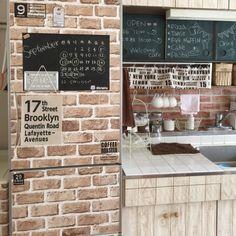 ayaさんの、リメイクシート レンガ,カフェ風,100均,3Coins,セリア,キッチン,のお部屋写真