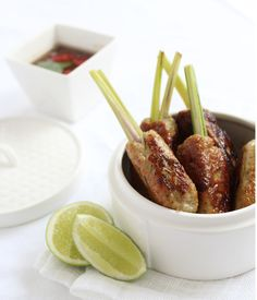 Try these lemongrass infused chicken sticks. Another delicious NoMU inspired recipe. Chicken On A Stick, Lemon Grass, Spice Things Up, Carne, Sticks, Cocktail, Baking, Inspired, Recipes