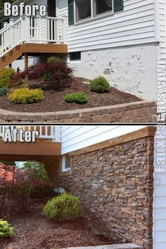 Install faux stone tiles to the outside of your house to disguise an ugly layer of foundation. Install faux stone tiles to the outside of your house to disguise an ugly layer of foundation. Home Remodeling Diy, Home Renovations, Up House, Home Repair, Outdoor Projects, Home Improvement Projects, Home Improvements, House Ideas, Curb Appeal