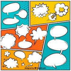 Globos de diálogo coloridos de cómic Vector Gratis