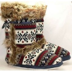 Dunlop Women's Fairisle Pattern Fur Edged Slipper Boots (With Tassle Detail) (Blue - White)