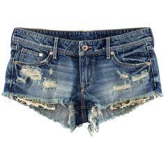 H&M Denim shorts (16 AUD) ❤ liked on Polyvore featuring shorts, bottoms, pants, short, denim blue, denim short shorts, pocket shorts, short shorts, low rise shorts and blue shorts