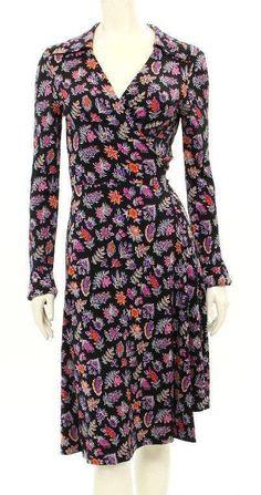 DVF Diane von Furstenberg Black Silk Floral Print Julie Wrap Dress Size 10 #DVFDianevonFurstenberg #WrapDress