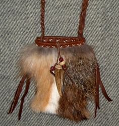 Mountain Man Fox Belly Medicine Bag Neck Pouch or for by misstudy