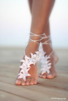 Autumn flowers barefoot sandal beach wedding barefoot by FULYAK