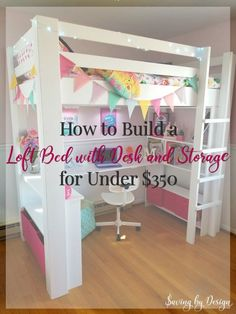 How to Build a Loft Bed for a Girls Bedroom by Jennifer Allwood -Tween Girl Bedroom Ideas - DIY Loft Bed - Loft Bed Directions - DIY Building Plans Bedroom Ideas For Teen Girls, Loft Beds For Teens, Kids Bunk Beds, Girl Loft Beds, Teen Loft Beds, Girls Bedroom With Loft Bed, Kids Loft Bedrooms, Trendy Bedroom, Cute Beds For Girls
