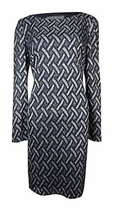 bbce924e759 Jessica Howard Womens Metallic WeavePattern Knit Dress 14 NavySilver     Continue reading at the image