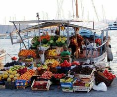 Floating grocery store in Aegina island, Greece Places To Travel, Places To See, Europe, Greek Islands, Historical Sites, Grocery Store, Bangkok, The Best, Cool Photos