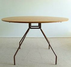 Paolo Rizzatto; Enameled Metal and Plywood Table for Danese, 1970s.