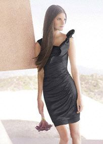 Hammered Satin Side-Draped Dress with Bow Detail, short bridesmaid dress available in cassis