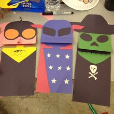 RLSH paper bag puppets of Knight Owl, DC's Guardian and Thanatos!