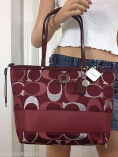 coach bags on sale outlet ogvj  COACH RED MULTI SILVER SIGNATURE STRIPE METALLIC TOTE SHOULDER BAG PURSE