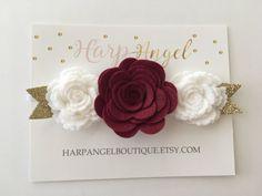 Marrón & blanco lana fieltro flor corona diadema pelo arco o