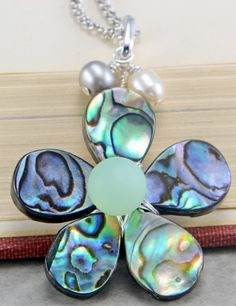 Abalone Shell Flower, Sea Glass, and Freshwater Pearls Pendant
