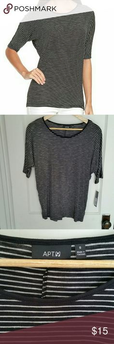 Apt 9 Striped Dolman Top Brand new with tags. Black and white striped top with elbow length dolman sleeves. Great basic. Apt. 9 Tops