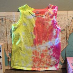 tie dye tank top. toddler 4T. yellow. orange. hot by duvdesigns