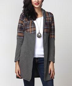Charcoal & Brown Plaid Sweater Cardigan
