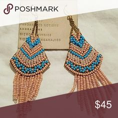 Anthropologie eaarings NWT  PINK BLUE drop earrings made in india Anthropologie Jewelry Earrings