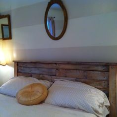 Whitewashed pallet headboard! Can't wait for new and improved bedding.