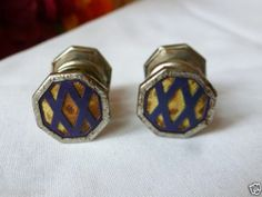 Vintage cufflinks Blue & Brown Celluloid Silver Cufflinks Snap Cuff Links