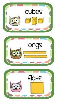 FREEBIE: Owl Math Supply Labels