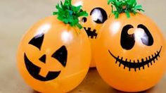"""Peanuts party or Halloween party idea: Have a """"Great Pumpkin Patch"""" of balloons filled with treats. Kids get to pop them when they win. Dulceros Halloween, Bonbon Halloween, Halloween Balloons, Adornos Halloween, Manualidades Halloween, Homemade Halloween, Halloween Disfraces, Holidays Halloween, Halloween Pumpkins"""