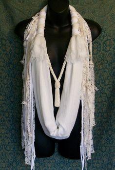 ketting sjaal wit beige lace festival kleding brandende door LamaLuz