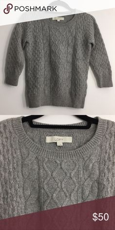 LOFT cozy cable knit sweater, perfect for layering grey cozy sweater perfect for cold weather. 3/4 sleeves perfect for layering or wearing with arm candy. love this sweater! LOFT Sweaters Crew & Scoop Necks